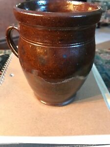 18th 19th Century Pa Redware Rare Wide Mouth Cooking Jug Receded Handle Perfec