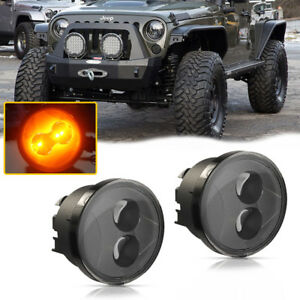 Smoked For 2007 up Jeep Wrangler Jk Led Daytime Running Drl Lights signal Lamps