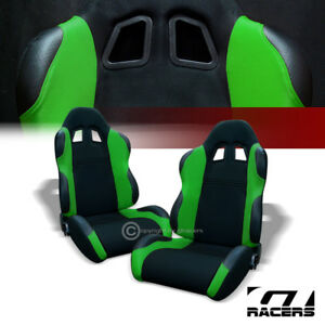 2 Universal Ts Blk Green Cloth Leather Reclinable Racing Bucket Seats Slider G01