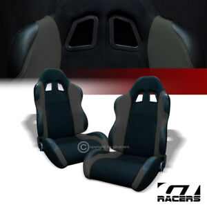 2x Universal Ts Blk gray Cloth Leather Reclinable Racing Bucket Seats slider G01