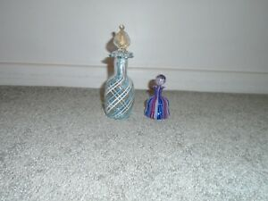 Vintage Murano Made In Italy 2 Perfume Bottles With Stoppers