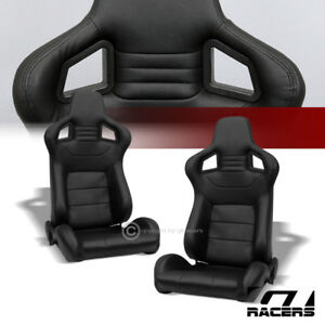 2x Universal Mu Blk Stitch Pvc Leather Reclinable Racing Bucket Seats slider G01