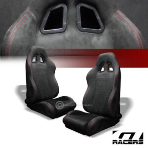 Universal Sp Sport Black Suede Red Stitch Racing Bucket Seats W sliders Pair G01
