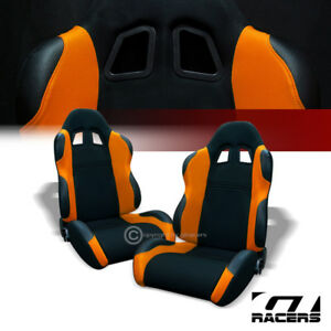 Universal Ts Black Orange Cloth Leather Racing Bucket Seats W Sliders Pair G01
