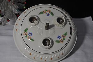 Antique 1930 S Art Deco Porcelain Ceiling Light Fixture Porcelier 3 Lights