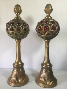 Antique Pair Brass Glass Art Nouveau Statue Decor Mantel Rare Red