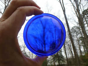 Antique Vintage Railroad Lantern Deep Blue Kopp Glass Lens 4 Convex