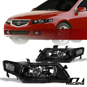 For 2004 2008 Acura Tsx Black Housing Projector Headlights Corner Signal Lamp Nb