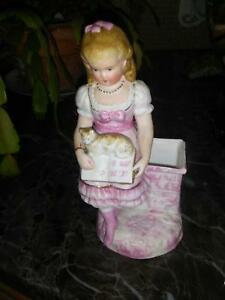 Beautiful Rare Antique German Bisque Girl With Cat Match Holder Early 1900 S