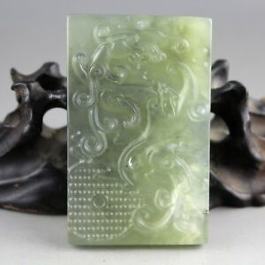 2 8 Chinese Light Green Jade Hand Carved Dragon Collect Pendant 1087