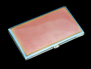 Antique Deco German Sterling Silver Blue Pink Enamel Guilloche Cigarette Case