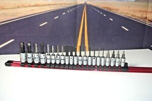 Snap On 1 4 3 8 Drive Ball End Hex Allen Socket Driver Set 21 Piece W Rail J6
