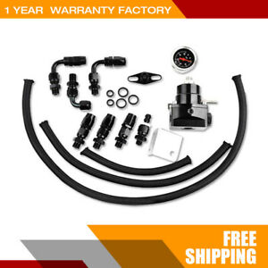 Black Universal Fuel Pressure Regulator Kit Oil With An 6 Fitting 100psi Gauge