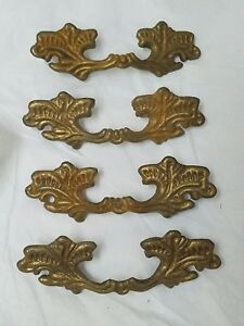 4 Antique Ornate Solid Brass Drawer Pulls Handles Leafy French Provincial Chunky