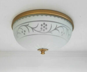 Antique 1930s 40s Vintage Satin Glass Ceiling Light Fixture 10 White Gold Trim