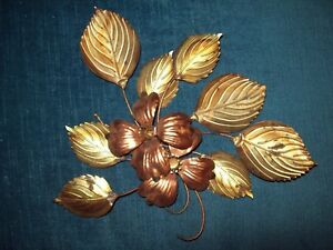 Vtg Metal Wall Flower Mid Century Dogwood Leaves Brass Rose Gold Tone Mcm Small