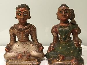 Pair Of Antique Indian Rajasthani Hand Painted Carved Wood Figures Polychrome