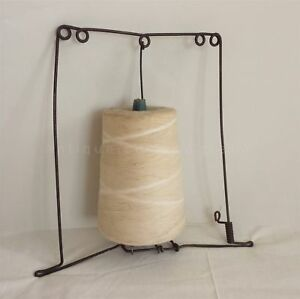 Antique String Wood Spool W Wire Holder Craft Crochet Lace Primitive Mill