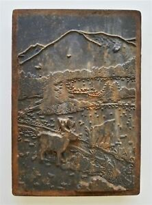 Antique Coal Wood Stove Door Cast Iron Panel Mountains Deer Hp5 Oven