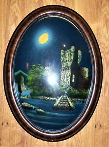 Vtg Bubble Glass Convex Oval Tiger Wood Frame On The Danube Reverse Painting