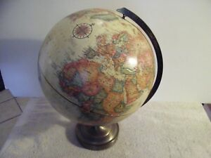 Relogel World Classic 12 Globe World Raised Continents Metal Frame Brown