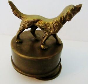 Antique Solid Brass Dog Music Box Works Excellent