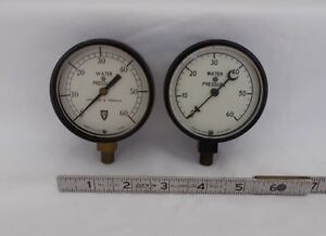 2 Antique Brass Wallace And Tiernan Gauges Steampunk