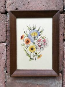 Vintage Hand Colored Floral Botanical Artwork Wood Frame With Message From 1941