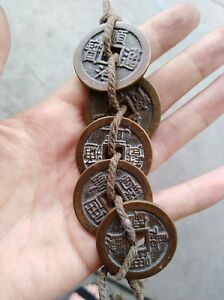 Chinese Old Copper Brass Coins Lucky Five Emperors Feng Shui Bronze Coins
