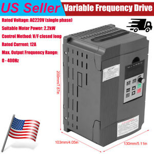220v 2 2kw Single Phase Speed Control Variable Frequency Drive Vfd Inverter 12a