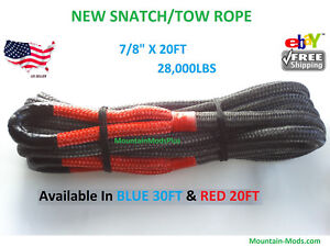 Snatch Tow Rope 20 X 7 8 Authentic Kinetic Recovery Strap 28 000 Lbs Red Eye