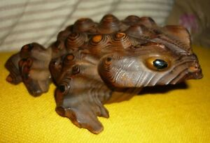 Vintage Mid Century Witco Style Burned Wood Carved Frog Toad