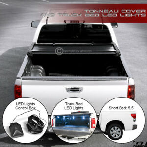 For 2014 2019 Toyota Tundra 5 5 Short Bed Tri Fold Soft Tonneau Cover Led Lights