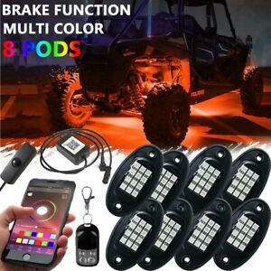 8 Pod Neon Led Rock Light Bluetooth Accent Underglow Offroad Car Truck Boat Kit