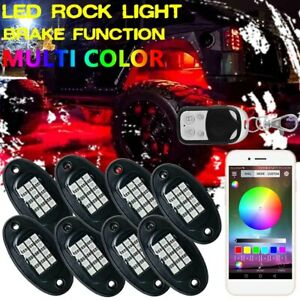 8pod Led Rock Light Neon Kit Bluetooth For Chevy Dodge Toyota Offroad Car Truck