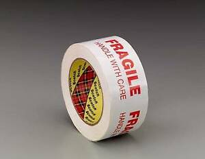3772 Scotch Printed Message Box Sealing Tape White 48mm X 100m pack Of 2