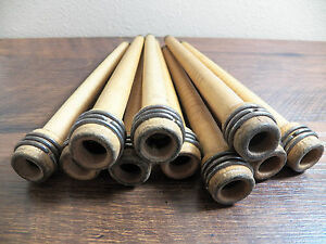 Lof 10 Antique Wooden 8 75 Textile Bobbins W Brass Tips Spindles Spools Quills