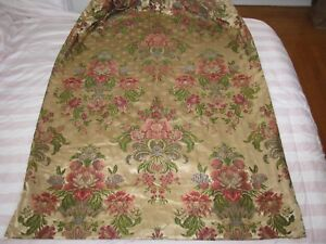 Antique French Fabric Panel Silk Damask Floral Window Drape Lined Opulent C 1900