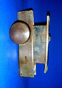 Vintage Or Antique Brass Door Knobs Backing Plates And Lock