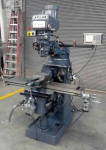 Clausing Atlas Vertical Milling Machine 10 X 54 Power Feed Dro s Vari speed Vise