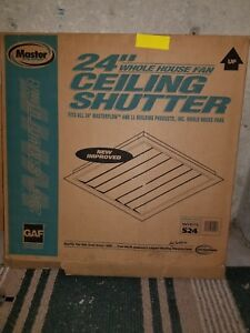 Master Flow Shutter 24 In S24 White Ceiling Fan Whole House New Exhaust Hvac