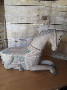 Vintage 14 Hand Carved Wood Painted Ornate Horse Statue Wooden Shabby