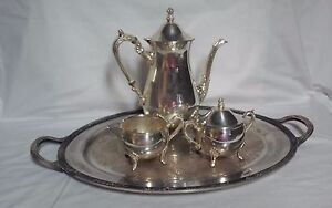 4 Pc Vintage Heavy Footed Silverplate Tea Service Set