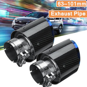 2pcs Id 2 5 Od 4 Glossy Carbon Fiber Exhaust Tips Universal Car Exhaust Pipe