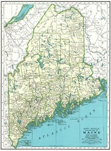 1943 Antique Maine State Map Vintage Map Of Maine Gift Gallery Wall Art 6261