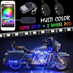 14x Motorcycle Led Light Kit Strips Multi color Accent Underglow Neon Wheel Pod