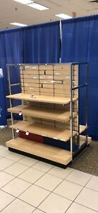 Store Display 4 Shelves Double Sided Top Section Has Hooks