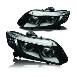2012 2015 Honda Civic Coupe sedan Black clear Projector Led Drl Headlight Pair