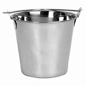 1pc Stainless Steel Seamless 9 Qt Heavy Duty Ice Bucket Pail Buckets Pails 9qt