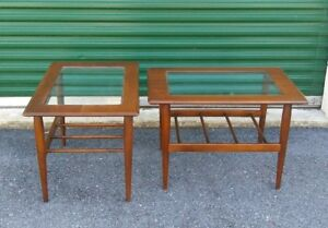 Matched Pair Vntg Mid Century Danish Modern Walnut Glass Side End Tables 1960s